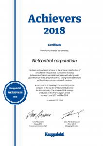 Kauppalehti Achiever Certificate